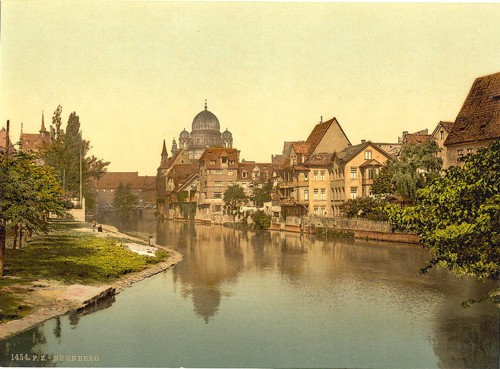 [The Pegnitz shore and synagogue, Nuremberg, Bavaria, Germany]