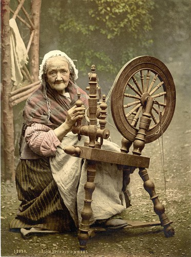 [Irish Spinner and Spinning Wheel. Co. Galway, Ireland]